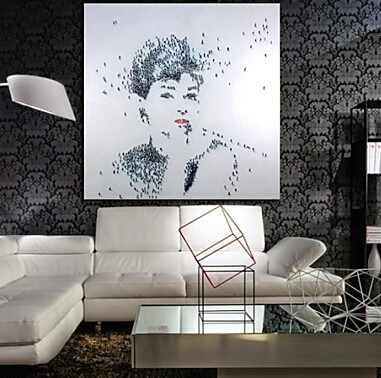 Hand Painted Modern Oil Painting Canvas Art People Audrey Hepburn Art with Stretched Frame Museum Quality Masterpiece