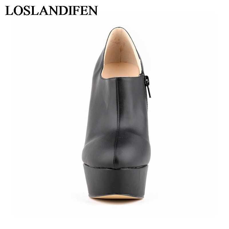 Yeni 2018 Marka Kadın Pompaları Zarif PU deri ayakkabı Kadın Sonbahar Kış yarım çizmeler Yüksek Topuklu Ayakkabılar NLK-A0010