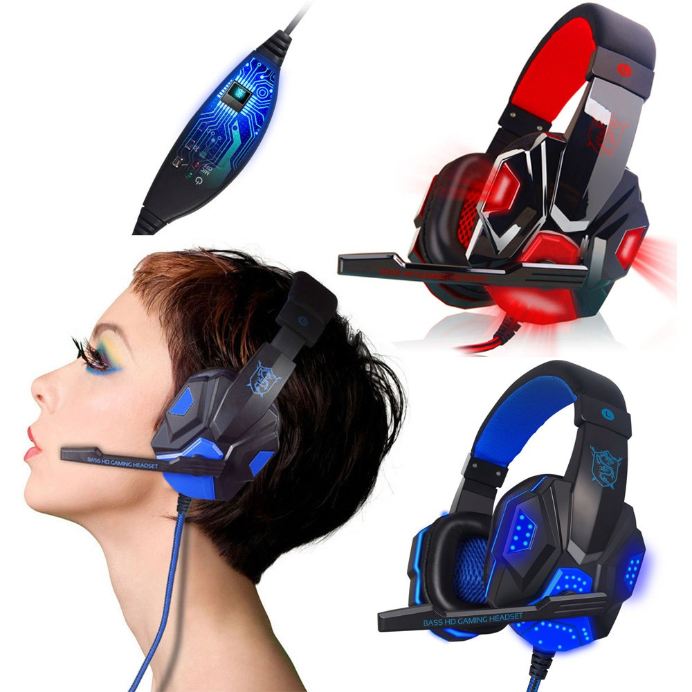 Surround Stereo Gaming Headset Deep Bass Headphone 3.5mm Audio Jack LED with Mic Perfect for Playing PC Games ,The Lowest Price