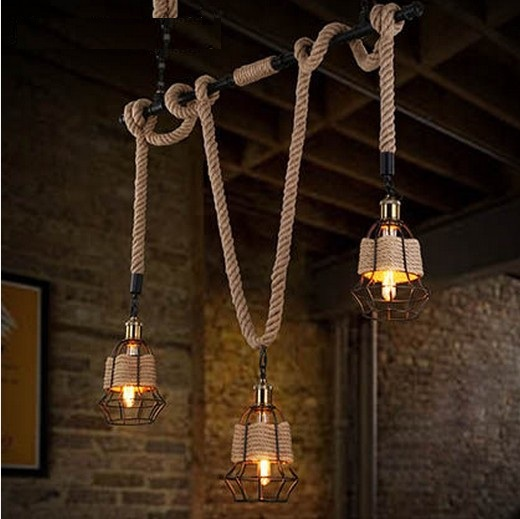 American Edison Loft Style Water Pipe Rope Pendant Light Fixtures For Dining Room Hanging Lamp Vintage Industrial Lighting edison inustrial loft vintage amber glass basin pendant lights lamp for cafe bar hall bedroom club dining room droplight decor