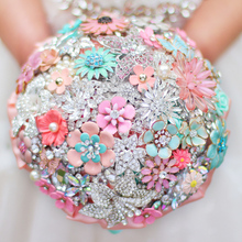 Custom made crystal Mint & Coral bridal bouquet,   wedding bride's brooch bouquet, Floral style, DIY coral wedding decorations
