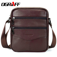OGRAFF Men messenger bags luxury genuine leather men bag designer high quality shoulder bag casual zipper office bags for men