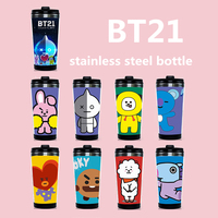 Kpop Home BTS Bangtan Boys Bt21 Fans Club Same Harajuku Style Bottle Drinkware Stainless Steel Double