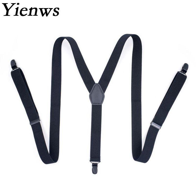Yienws Black Suspenders Men for Pants Y Back Elastic Strap Braces Women Mens for Trousers Bretels Mannen Tirantes Hombre YiA091