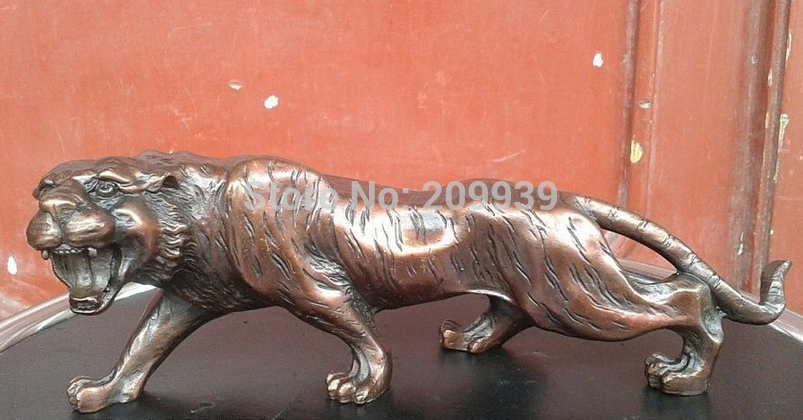 Huij 006560 Chinese Fengshui Pure Red Bronze Copper Animal Zodiac Year Lucky Tiger Statue (A0314)