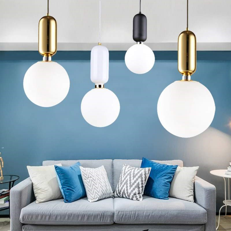 Modern Glass Globe Pendant Hanging Lights For Bar Shop White Ball Gall Lampshade Led Lustres Pendant Lamp E27 Fixtures Lighting цена