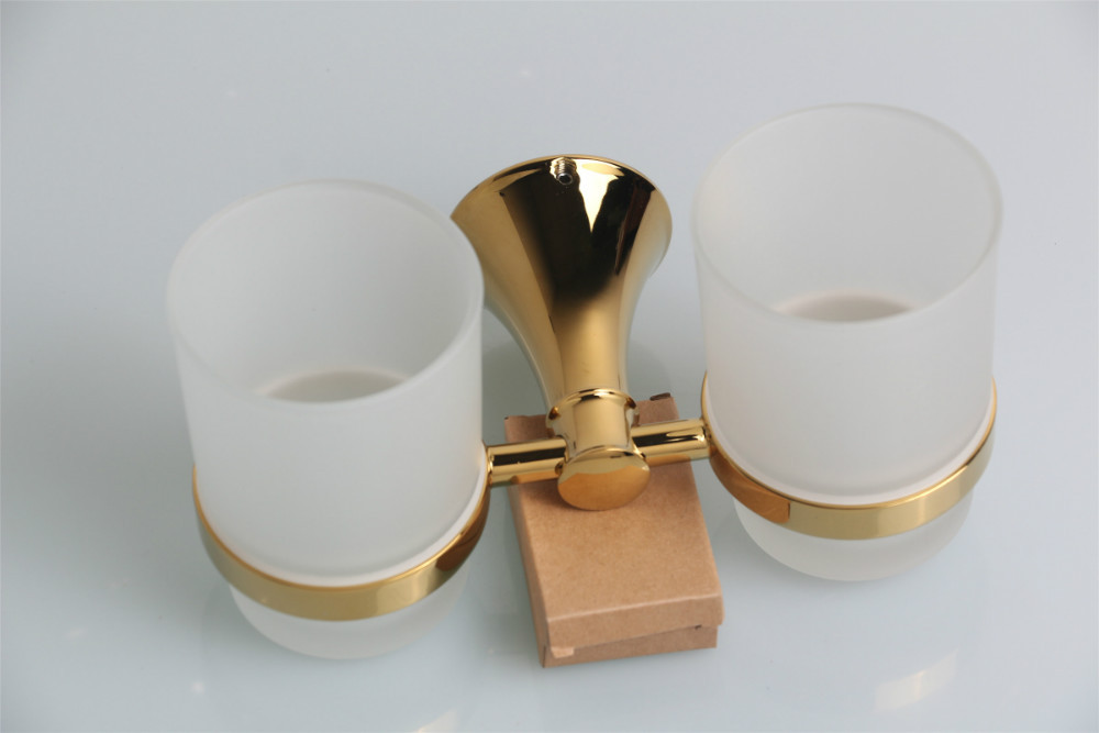 High Quality Free Shipping Double Gold Tumble Holder Toothbrush Holder with Frosted Glass Cup Wall Mounted image
