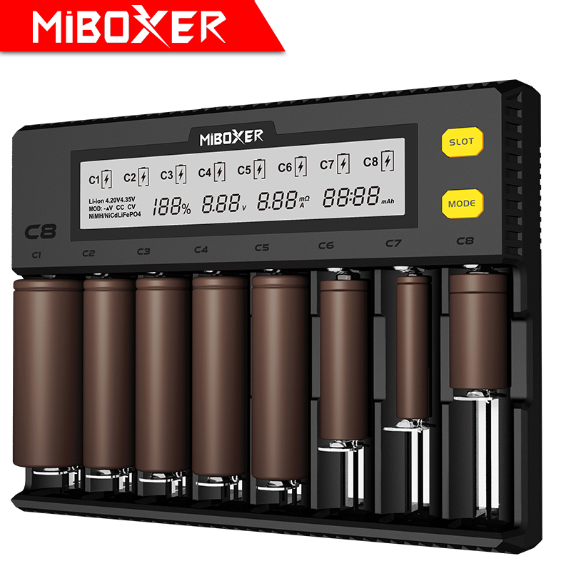 MiBOXER C8 Battery Charger 8 Slots LCD Display for Li ion LiFePO4 Ni MH Ni Cd