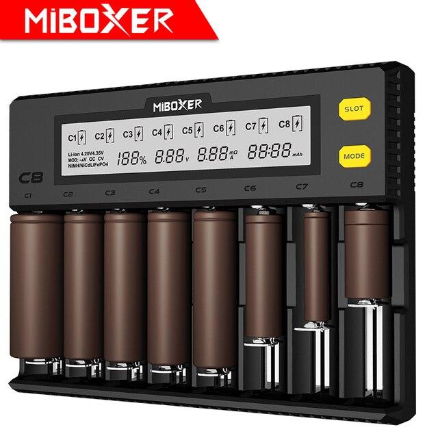 MiBOXER C8 pil şarj cihazı 8 yuvaları lcd ekran Li ion LiFePO4 Ni MH ni cd AA 21700 20700 26650 18650 17670 RCR123 18700