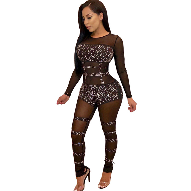 Women Sexy Mesh See Through Rhinestone Sparkly Jumpsuit Autumn Long Sleeve Sequins Christmas Black Sheer Party Jumpsuits Rompers