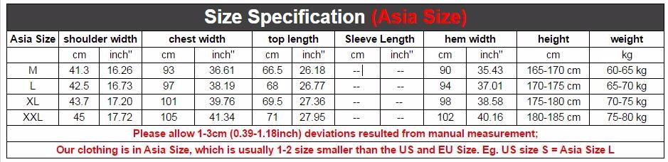 SIZE CHART FOR SLIM FIT TEE