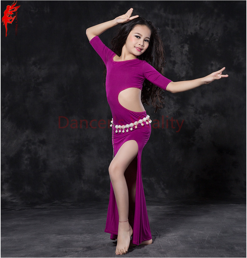 Girls Belly Dance Clothes Modal Half Sleeves Belly Dance Dress For Gilrs Belly Dance Exercise Dress Girls Belly Dancing Dress