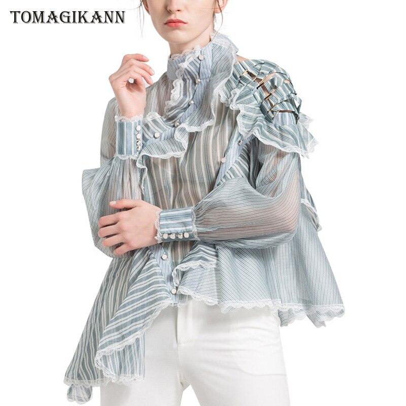 Organza Sheer Blouses Woman 2019 Striped Ruffle Lace Patchwork Buttons Cross Shirts Turtleneck Blusa Feminina Tops