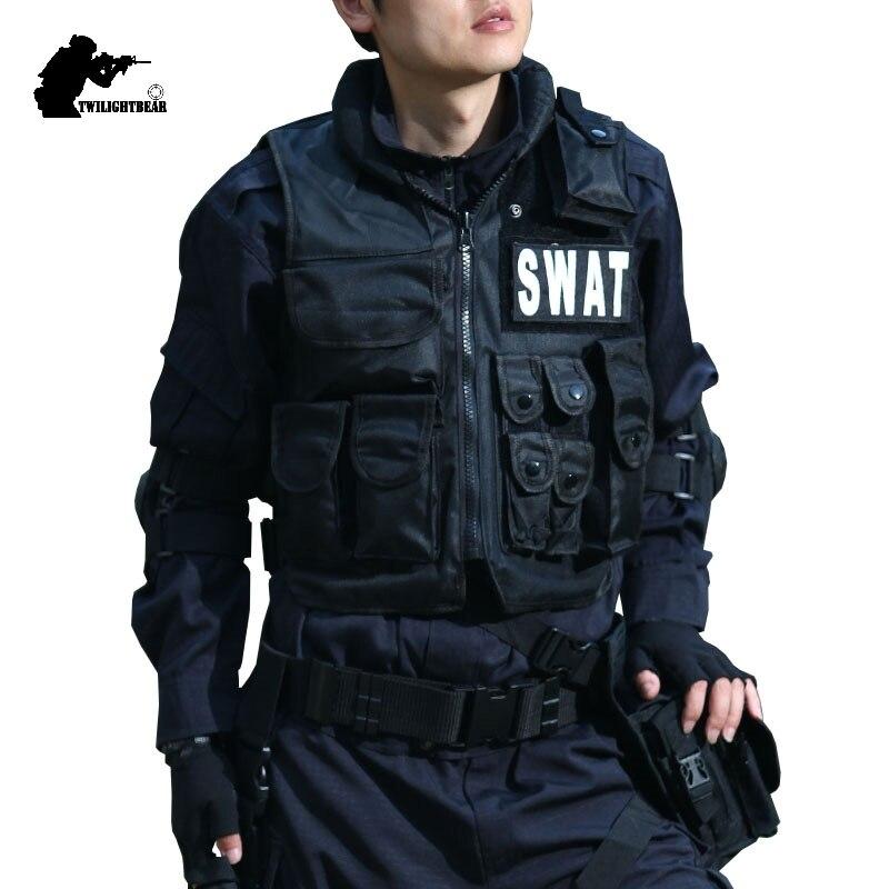 Military Tactical Vest 800D Waterproof Swat Protective Vest SWAT/FBI/POLICE Hook Loop Fasteners Outdoor CS Game Equipment BESP1
