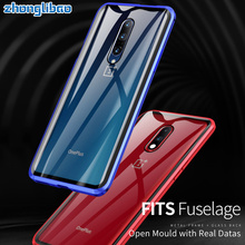For One Plus7pro Magnetic Adsorption Metal Case for Oneplus 7 7 Pro Luxury 360 Full Cover Front Back Tempered Glass Double Cover
