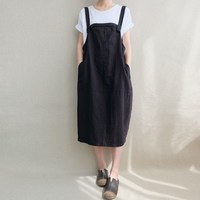 S 5XL 2018 Celmia Women Spring Cotton Linen Sleeveless Pockets Solid Dungarees Bib Dress Loose Retro