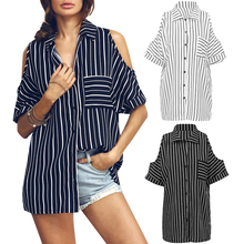 Womens Tops and Blouses Plus Size 3XL 4XL 5XL Striped Shirts Cold Shoulder Button Short Sleeve Irregular Summer Casual tunic Top
