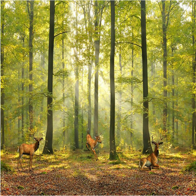 custom photo wall paper modern european deciduous forest