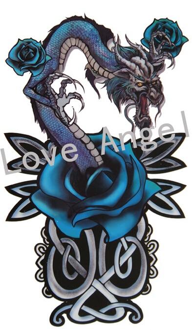 2pcs/lot colorful blue rose dragon design large temporary tattoo stickers big waterproof tattoos for men women arm leg body art