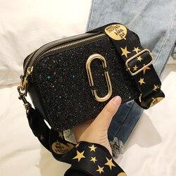 2019 модная Новая женская квадратная сумка с блестками, Высококачественная женская дизайнерская роскошная сумка из искусственной кожи, черн...