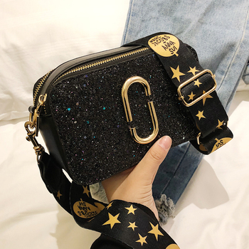 2019 Fashion New Ladies Sequin Square bag High quality PU Leather Women