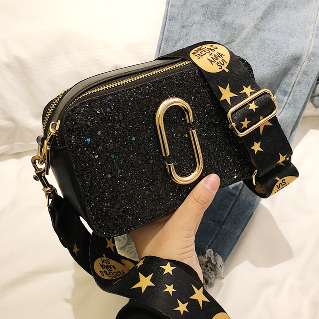 d6e27cd2b6c 2019 Fashion New Ladies Sequin Square bag High quality PU Leather Women s  Designer Luxury Handbag Black Shoulder Messenger bag-in Shoulder Bags from  Luggage ...