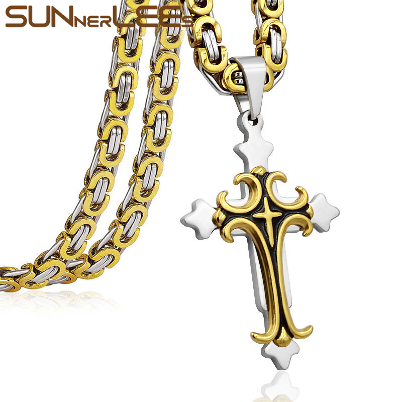 SUNNERLEES Stainless Steel Jesus Christ Cross Pendant Necklace Byzantine Link Chain Gold Color For Men SP206 crucifixo pingente de ouro masculino