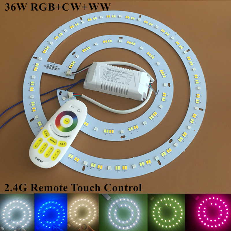 KINLAMS LED Потолочный светильник LED Круговая световая пластина с 2,4 Г Цветной пульт дистанционного управления RGB + Теплый белый + Холодный белый комплект