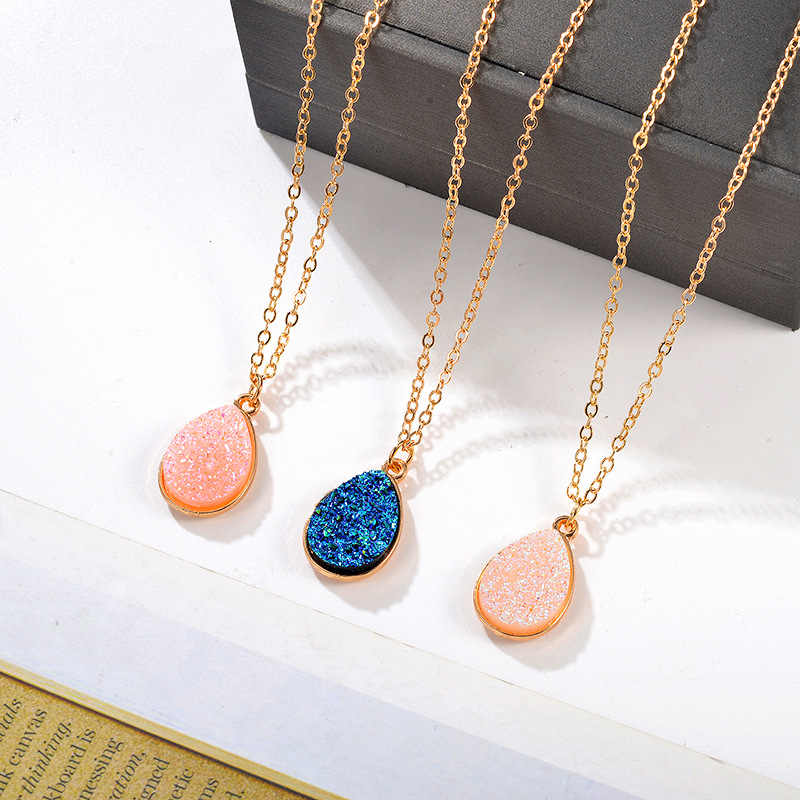 2019 Fashion Druse Natural Druzy Crystal Gold Color Chain Necklace Pendant Necklace Jewelry For Women Simple Accessories Gifts
