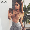 YNZZU Brand New Autumn Women Shirt Sexy V Neck Cross Basic Shirts Slim Fashion Long Sleeve Femme Short Clothes Top YT124