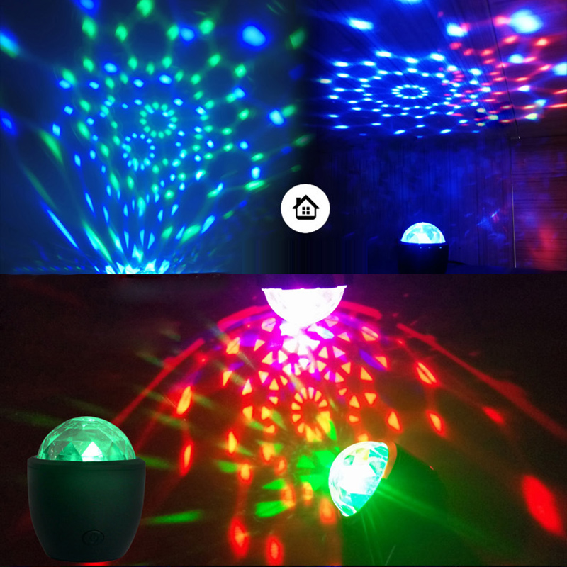 USB 3W LED Stage DJ Disco Club Car Atmosphere Light Sound Control Voice-Activated Laser Projector Crystal Magic Ball Effect Lamp цена 2017