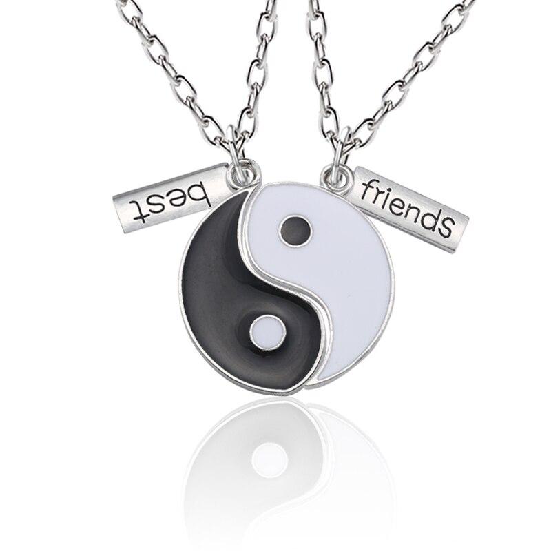 Mejores amigos collar cadena hombres y mujeres 2 piezas blanco y negro colgante collar conjunto BFF amistad joyería regalo