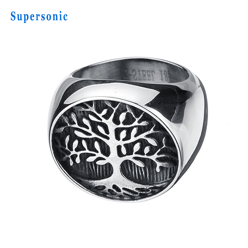 2017 New 316L Tree of Life Stainless Steel Punk Men Rings Biker Ring High Polished Never ...