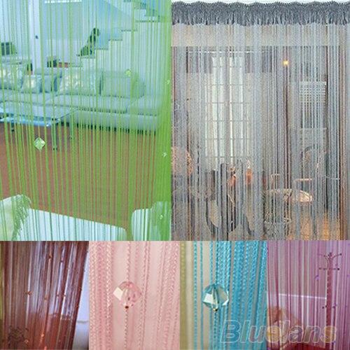 HOT String Door Curtain Fly Screen Divider Room Window Decor DIY Blind Tassel Drape+40pcs Beads  91UH(China)