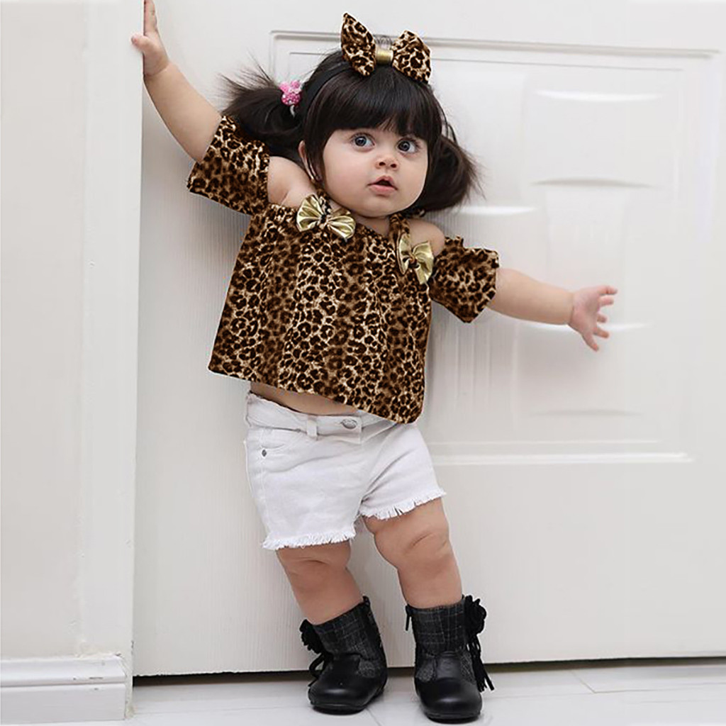 MUQGEW Baby Girl Clothes Toddler Baby Girls Off Shoulder Bow Leopard Print Tops+Hole Denim Shorts Dropshipping Roupa Infantil