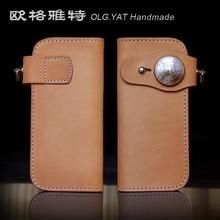 OLG.YAT Italian vegetable tanned leather handmade wallet men purse women bag long hasp Pure leather handbag Choi cloth Cowhide
