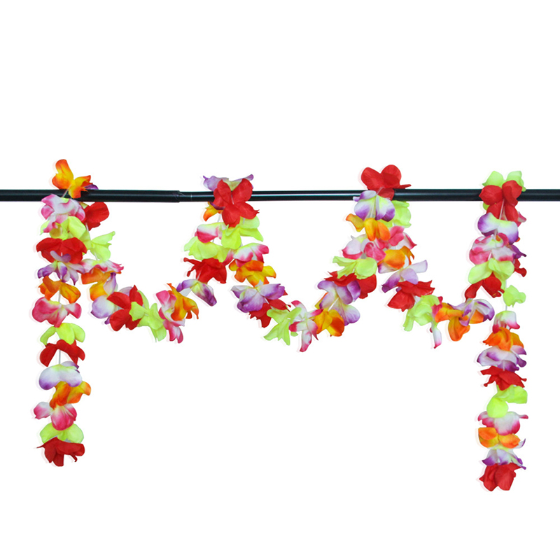 New Hawaiian Artificial Flower Leis Garland Necklace Collar Fancy Dress Party Decor Hawaii Beach Fun Gift DIY Flowers Decoration