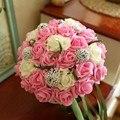 2016 ramos de novia ramo de fleurs mariage magníficos ramos de novia con cuentas de cristal de Color Rosa Rosa flores de la boda ramos de novia