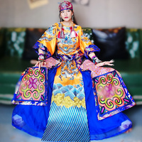 Классический древний император Вышивка Дракон блузка с длинным рукавом для женщин Благородный рубашка Винтаж Улучшенная китайский стиль