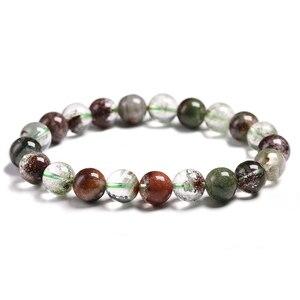 Бусины из натурального камня с кристаллами, 6/8/10 мм, зеленый фантомный кварцевый браслет для мужчин и женщин