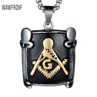WAWFROK Gold Color Titanium Stainless Steel Masonic Free Mason Freemasonry Necklaces Pendants For Men Jewelry