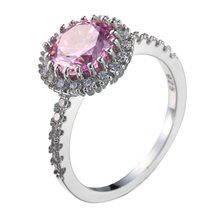 Color Silver Halo Rings Pink for Women Wedding Engagement Crystal Wholesale Jewelry 2019(China)