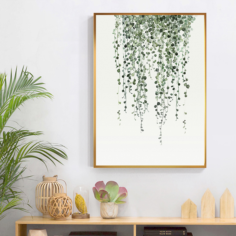 Nordic Style Green Leaf Cactus Decoration Plant Canvas Painting Wall Art For Living Room Bedroom Tableaux Salon Big Print Poster