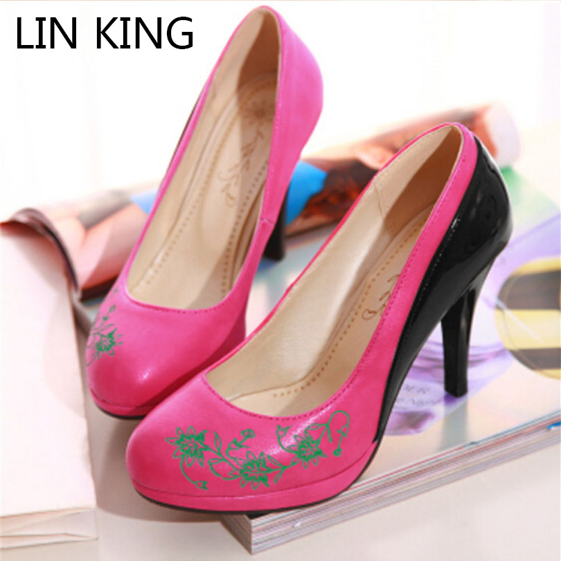 LIN KING New Fashion Spring Autumn Sexy Women Shoes High Heels Pumps Platforms Patchwork Pointed toe Flower Plus size 34-43