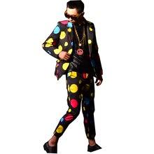 Men Dancer Singer DJ Stage Show Costumes Male Colors Dot Fashion Hip Hop Slim Fit Casual Suit Blazers Coat Male