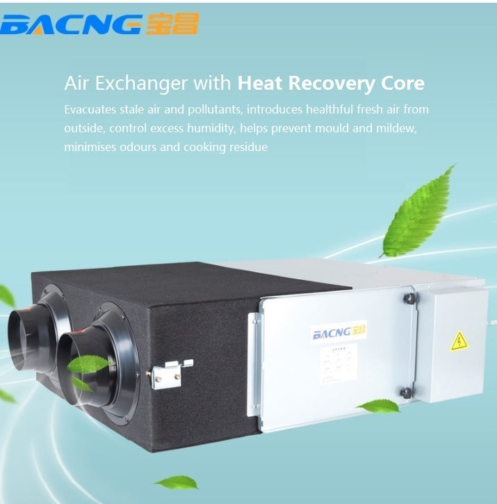 Air Exchanger with Heat Recover Core, 350 cube meter air flow per hour, quite operation 35dB, compact design of 36kg arrivals 1 36kg