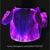 Led Luminous Fiber Optic Party Evening Jacket Colorful Led Light Up Stage Performance Dance Clothes Event Led Illuminated Wears