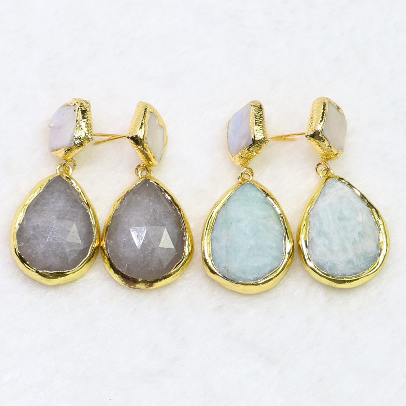 4 Pairs electroplated stone jewelry earrings Gold color stone earrings stone earrings Gift for lady 6025