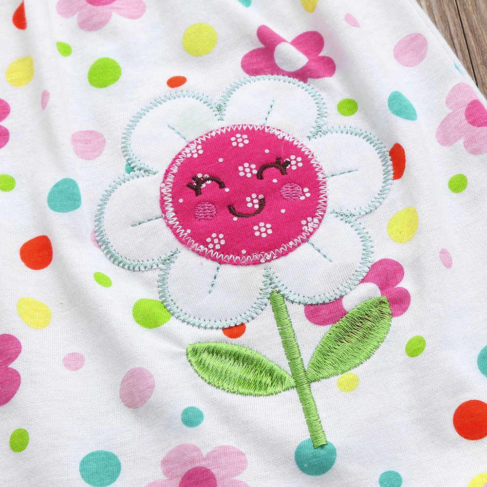 Милые детские хлопковые полосатые футболки в горошек с цветочным принтом для малышей, платье-футболка, жилет 2019 Детские платья без рукавов однотонная детская одежда