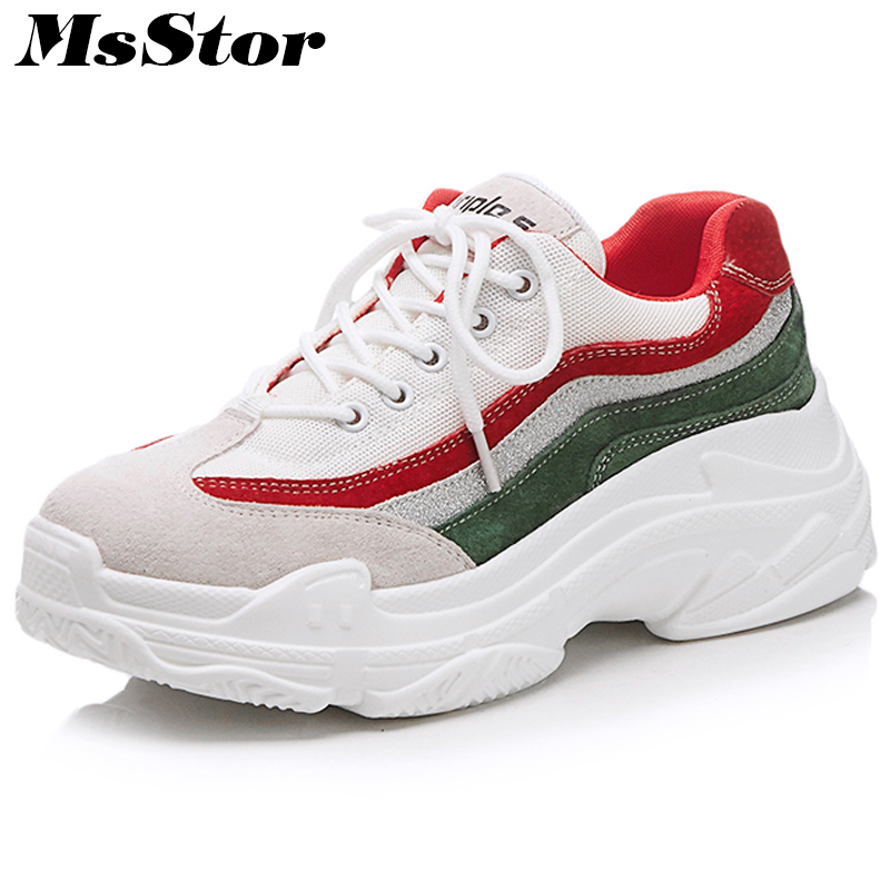 MsStor Thick Bottom Women Shoes Fashion Mixed Colors Casual Flat Shoes Women 2018 Spring Round Toe Lace-Up Sneakers Women Flats